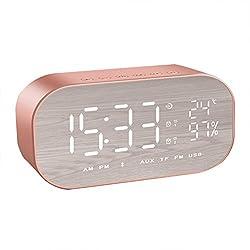 WINOMO Bluetooth Speaker Alarm Clock Radio Wireless Subwoofer Creative Large Mirror Screen Display of Temperature Bedside Alarm Sound Box for Bedroom(Rose Gold)
