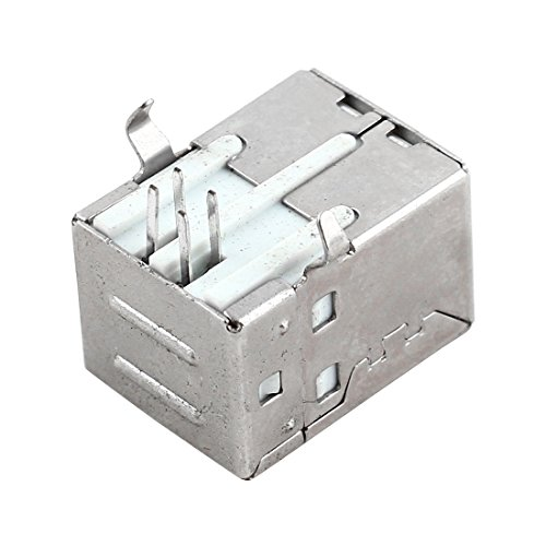 uxcell Shielded USB Type B Female Port 4 Pins PCB Mount Jack Connector Silver Tone by uxcell (Image #1)