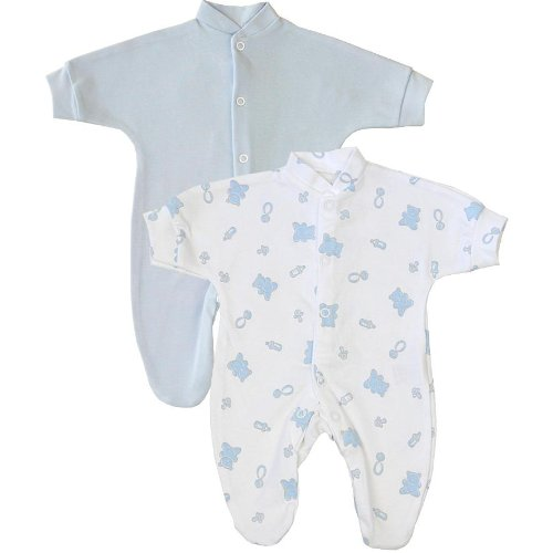 BabyPrem Premature Baby Pack of 2 Sleepsuits Clothes 0 - 7.5lb Blue Teddy Bear