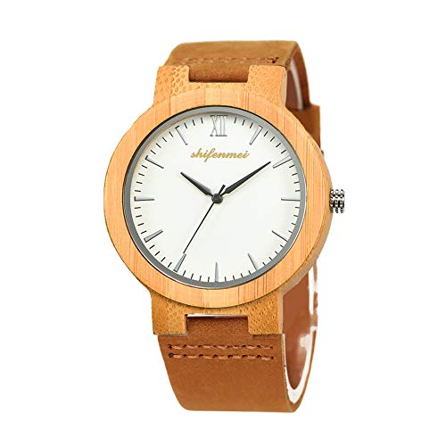 Wooden Watches, shifenmei S5512 Japanese Quartz Movement Lightweight Bamboo Wooden Watches Genuine Leather Strap Analog Handmade Casual Wood Watch for Unisex with Gift Box (Brown)