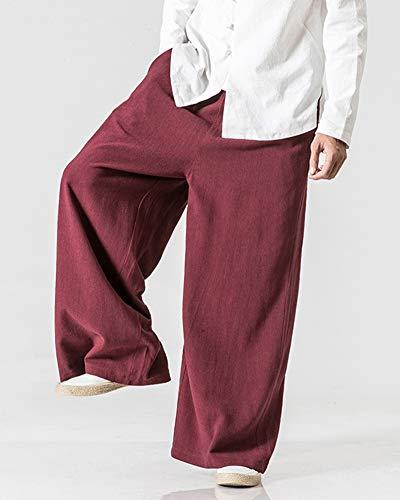 Youxin Casual Lin Haute Droit Rouge Taille En Poche Vin Avec Pantalon Homme Trouser BqrvRB