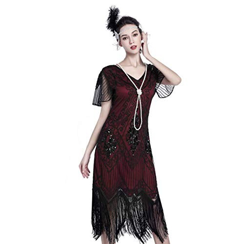 1920 Dresses for Women Gatsby Dresses for Women Sequin Flapper Dress 1920s Great Gatsby Themed Roaring 20s Dresses Red and Black