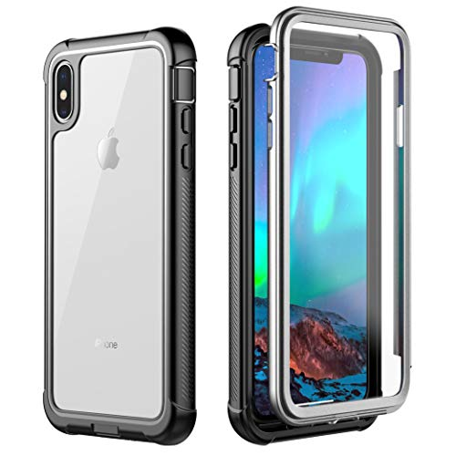 ATOP iPhone Xs Max Case, Full-Body Rugged with Built-in Screen Protector with Kickstand Thin Clear Bumper Case for iPhone Xs Max 6.5 Inch 2018 (Black/Clear)