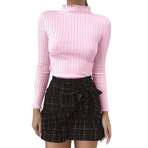 - Bowanadacles Women Long Sleeve Ribbed Turtleneck Plain Basic Slim Tops tee Shirt Knit Mock Pullover Sweater Casual (Pink, XL)