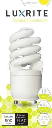 Luxrite LR22300 (4-Pack) CF13 13-Watt CFL T2 Spiral GU24 Bulb, Equivalent To 60W Incandescent, Warm White 2700K, 900 Lumens, GU24 Bi-Pin Base