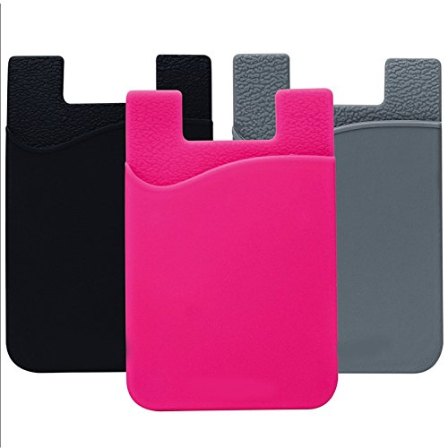 Cell Phone Wallet, Stick on Wallet by AgentWhiteUSA: (For Credit Card, Business Card & Id) | Works with almost every phone | iPhone, Android & Most Smartphones (Pink, Gray, Black) (Case G4 Htc Evo)