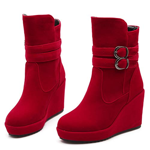 Wedge Heels Boots Ankle Women On Red Coolcept Pull Classic EwFqZfxtH