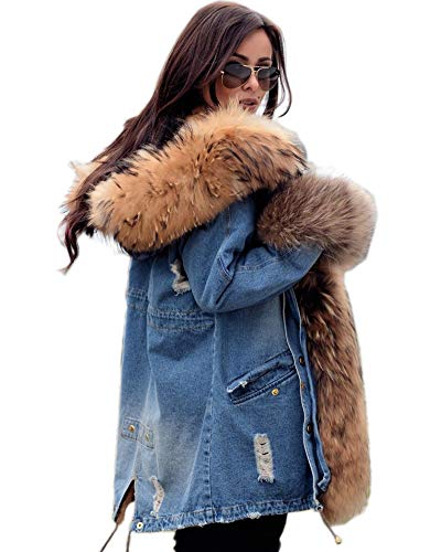 Aofur Womens Hooded Faux Fur Lined Warm Coats Parkas Anoraks Outwear Winter Long Jackets (Large, Denim_Brown Fur) (Parka Fur Jackets)