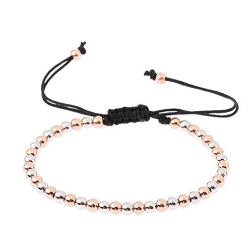 Women Fashion Elegant Sliver Pearl Bead Handmade Charm Bangle Chain Bracelet Jewelry (Rose Gold)