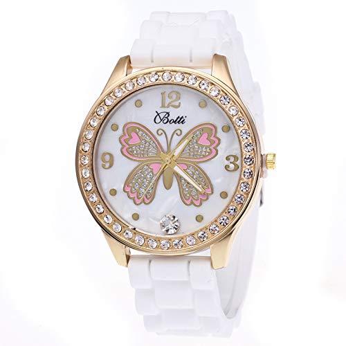 Relojes para Mujer Mujer Mariposa de Dibujos Animados Moda Rosa Rojo Blanco Cronógrafo Reloj de Pulsera