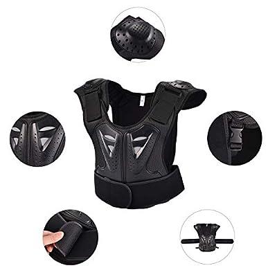 OHMOTOR Kid Body Armor Armour Jacket Children Chest Back Spine Protector Vest(Black, S): Automotive