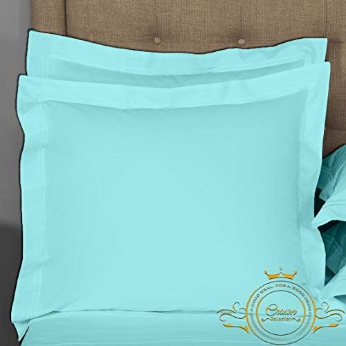 Crown Collection Aqua Solid European Square Pillow Shams Set of 2 pc - Hypoallergenic 500-TC 100% Egyptian Cotton Decorative Cushion Cover Euro Pillow Sham (Aqua, Euro 26'' x 26'')