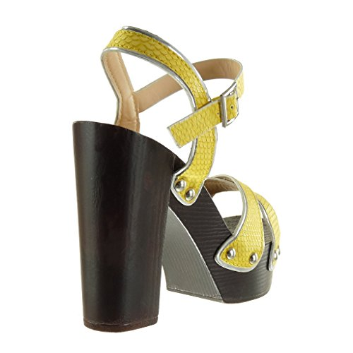 Angkorly - Zapatillas de Moda Sandalias zapatillas de plataforma mujer piel de serpiente tachonado tanga Talón Tacón ancho alto 12 CM - Amarillez