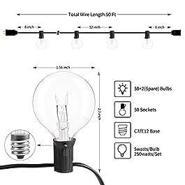 G40 Outdoor Patio String Light 50Feet Connectable Globe Lights with 52 Clear Bulbs(2 Spare), UL Listed Backyard Lights…