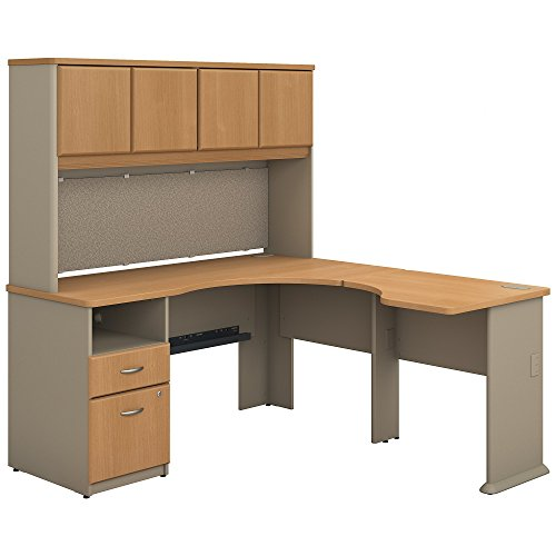 Bush Business Furniture Series A 60W x 65D L Shaped Desk with Hutch and 2 Drawer Pedestal in Light Oak and (2 Drawer Oak Hutch)