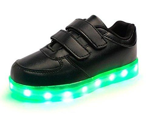 (Present:kleines Handtuch)JUNGLEST® Kinder Jungen Mädchen LED Schuhe Leuchtend Sneaker Farbwechsel Fluorescence Turnschuhe Sportsschu Schwarz