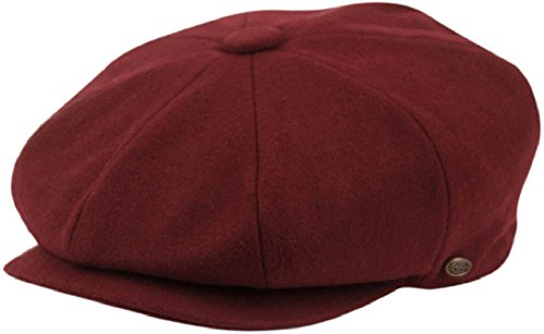 (Men's Classic 8 Panel Wool Blend Newsboy Snap Brim Collection Hat (X-Large, 1595-Burgundy))