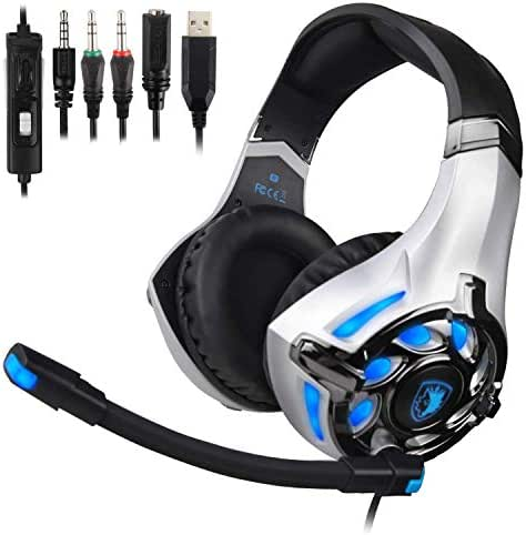 SADES SA822T Stereo Gaming Headset for Xbox One,PS4,PC,Controller,Surround Sound Soft Earmuffs Over-Ear Headphones with Noise Cancelling Mic,USB LED Lights,Volume Control for Laptop,Mac,Phone,Nintendo