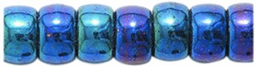 Preciosa Ornela Traditional Czech Glass Crow Roller 200-Piece Beads, 6mm, Blue Iris (Roller Crow)