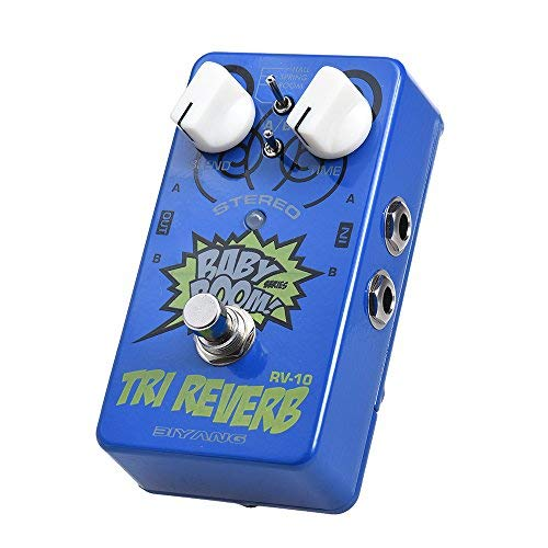 BIYANG Stereo Reverb Guitar Effect Pedal RV-10 BABY BOOM Series 3 Modes True Bypass Full Metal Shell (Best Stereo Reverb Pedal)