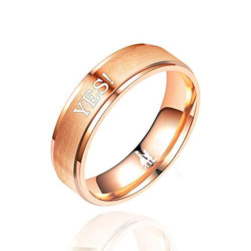 ANAZOZ 6MM Womens Engagement Rings Stainless Steel YES ! Rose Gold Plated Couple Promise Ring Size 11