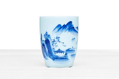 Porcelain Teacup Tall Tea Cup Ceramic Mug Without Handle Modern Chinese Teaware (white, blue, village)