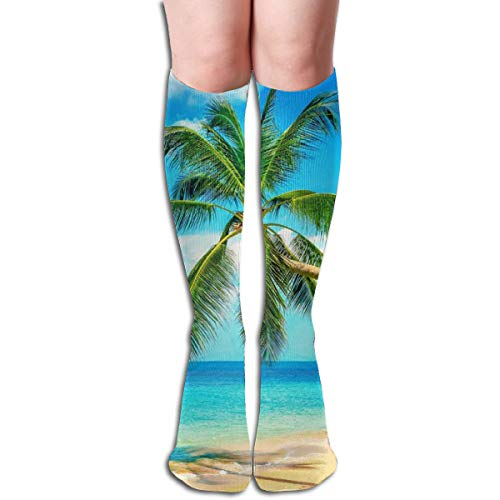 Long Socks, Palm Trees Knee High Socks, Unisex Tube Compression Thigh Sock Crew Athletic Football Stockings