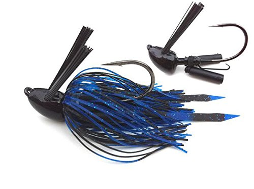 Rattle Jig - Heavy Mat Jig with Self-Righting Jig Head Fishing Lures to Bait Bass, Bluegill and More,  TKO/Black/Blue, 3/4 oz