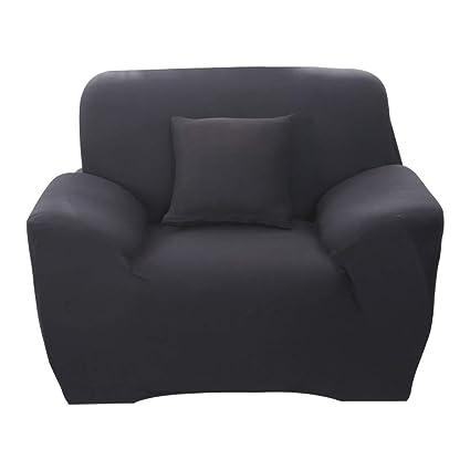 Hotniu Funda de sofá elástica, Cubre de sofá o sillón Universal, Protector Pare Sofa Muebles de 1 Plaza, Negro