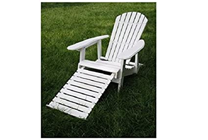 White Folding Adirondack Chair With Pull Out Footrest
