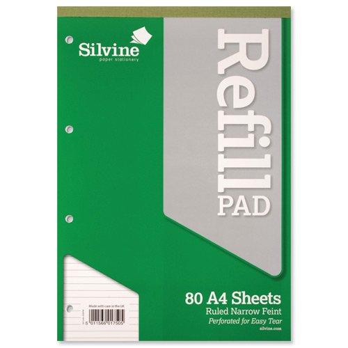 Silvine Ref A4RPNF - Bloc de hojas de recambio (6 unidades, A4, 80 hojas microperforadas, 75 g/m², 4 taladros) William Sinclair
