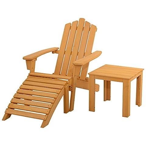 Giantex Wood Adirondack Chair w/ Ottoman & Side Table Outdoor Patio Deck Garden Set (Adirondack Chairs With Ottoman)