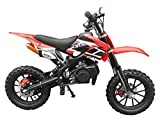 DR-X Holeshot Kids Mini Dirt Bike Gas Power 2-Stroke 50cc Motorcycle Off Road Motorcycle Pit Bike, Fully Automatic Transmission, Red