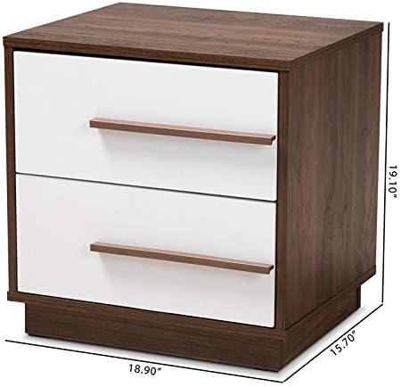 Baxton Studio Mid Century Mette 2 Drawer Wood Nightstand In White And Walnut Furniture Decor