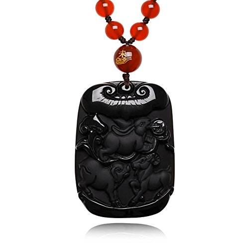 Embellishment Pigs and sheep Scrubs Obsidian rabbit sanqi pendant/SpongeBob sheep necklace red agate beads chain-A