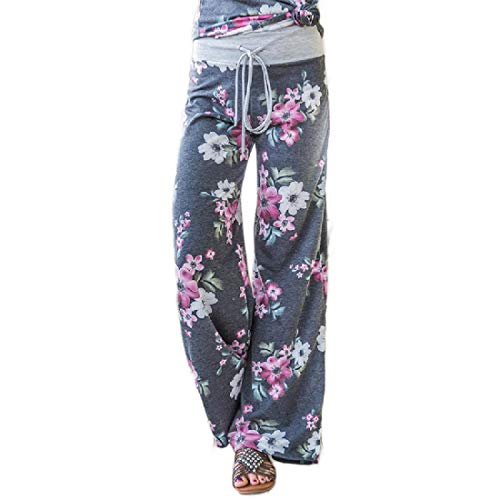HEFASDM Women's Relaxed-Fit Printing Lounger Wide Leg Lounge Pants Grey S