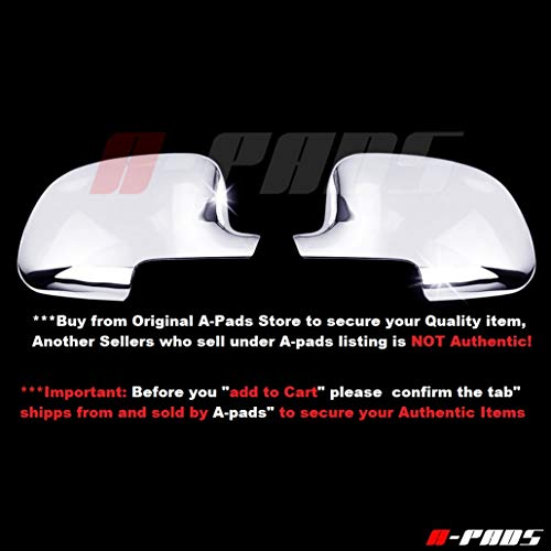 A-PADS Chrome Full Mirror Covers for GMC Sierra [All Models] 1999-2006 + Classic 2007 - Chromed Mirrors Pair ()
