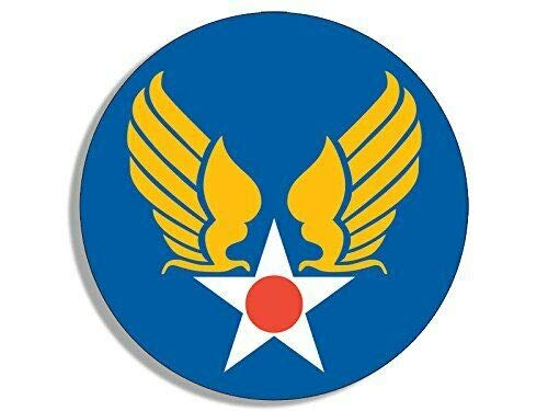 MAGNET 4x4 inch Round Army Air Corps Star and Wings Sticker (Logo Insignia us) Magnetic vinyl bumper sticker sticks to any metal fridge, car, signs ()