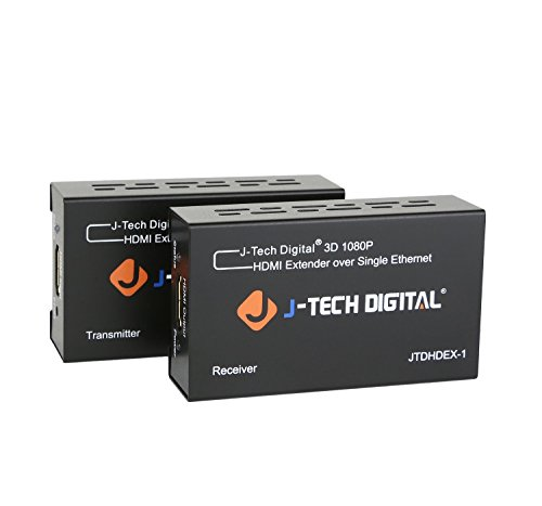 J-Tech Digital HDMI Extender By Single Cat 5E/6/7 Full Hd 1080P With Deep Color, EDID Copy, Dolby Digital/DTS 1080i Video