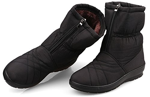 Labato Style Women's Warm Waterproof Snow Boot Wide Calf Fur Lined Winter Boots with Zipper (Black, 10 B(M) US)