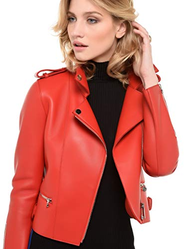 Femme Arturo Couleur Style 36 Tendance Blouson Perfecto Rouge Taille Cuir xHrHRqZY
