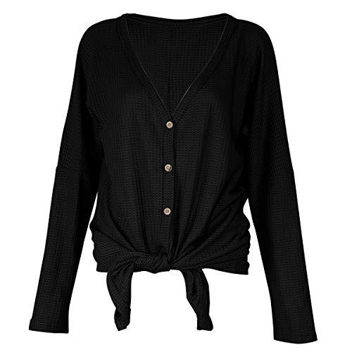 Womens Waffle Knit Tunic Blouse Tie Knot Henley Tops Casual Long Sleeve Bat Wing Plain Shirts (Black, XXL)