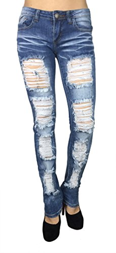 Machine Jeans Women's Distressed Destroyed Ripped Skinny Slim (11)