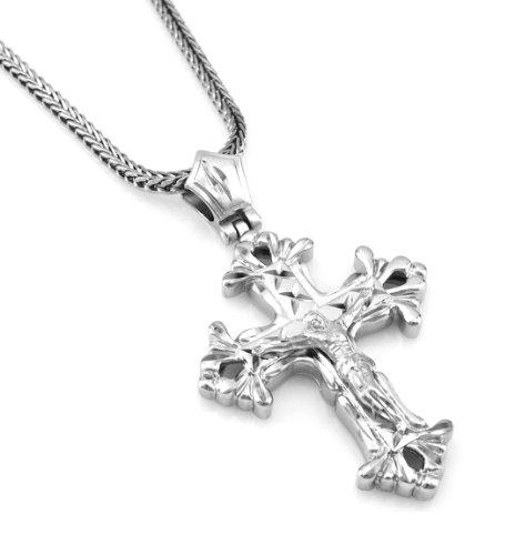 y Silver ToneLatin Cross Crucifix Pendant free 36
