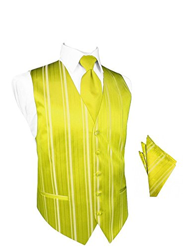 Lemon Striped Satin Tuxedo Vest with Long Tie and Pocket Square Set