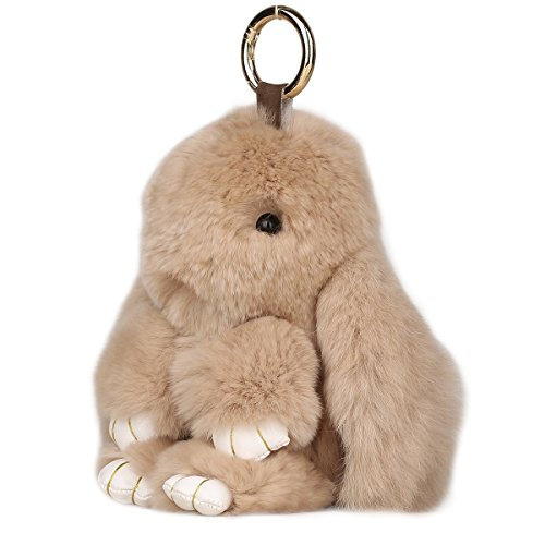 - MISASHA Bunny Fur Rabbit Beige Pompom Ball Doll Pendant Keychain Car Handbag Keyring