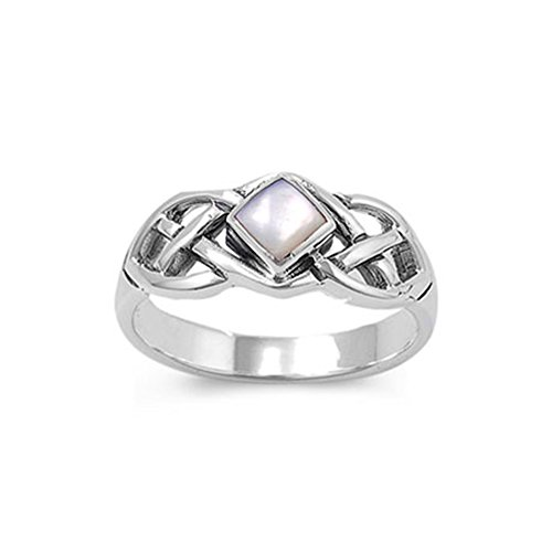 (Noureda Sterling Silver Diamond Shaped Mother of Pearl with Celtic Knot Design Ring, Face Height of 8MM, Band Width: 2MM)