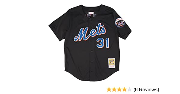 87e69a476 Amazon.com : Mitchell & Ness Mike Piazza Black New York Mets Authentic  Throwback Jersey : Clothing