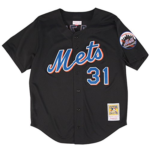 Mike Piazza Black New York Mets Authentic Throwback Mitchell   Ness Jersey Large  44