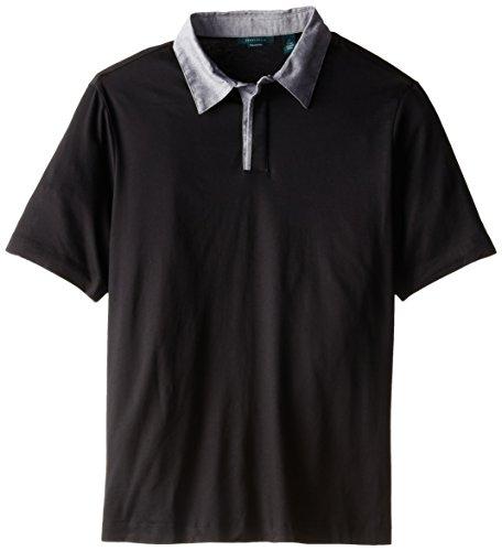 Perry Ellis Men's Big-Tall Pima Cotton Oxford Collar Polo, Black, Tall/Large